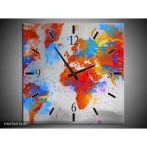 Wandklok op Canvas Wereld   Kleur: Grijs, Rood, Blauw   F005539C