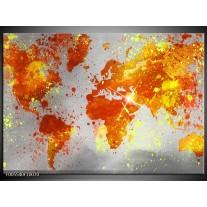 Foto canvas schilderij Wereld | Grijs, Oranje, Geel