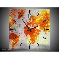 Wandklok op Canvas Wereld | Kleur: Grijs, Oranje, Geel | F005540C