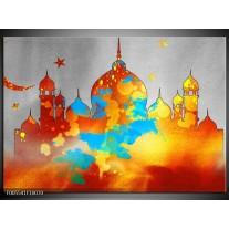 Foto canvas schilderij Gebouw | Grijs, Oranje, Blauw