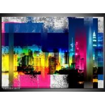 Foto canvas schilderij Gebouw | Geel, Blauw, Roze