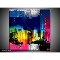 Wandklok op Canvas Gebouw | Kleur: Geel, Blauw, Roze | F005543C
