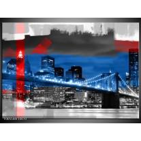 Foto canvas schilderij Brug   Blauw, Grijs, Rood