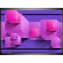 Foto canvas schilderij Vierkant | Paars, Blauw, Roze