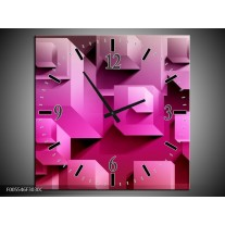 Wandklok op Canvas Vierkant | Kleur: Paars, Wit, Roze | F005546C