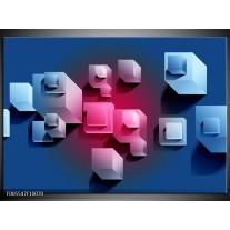 Foto canvas schilderij Vierkant | Blauw, Roze, Wit