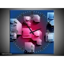 Wandklok op Canvas Vierkant | Kleur: Blauw, Roze, Wit | F005547C