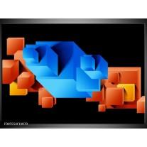 Foto canvas schilderij Art   Blauw, Oranje, Zwart