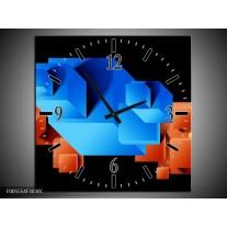 Wandklok op Canvas Art   Kleur: Blauw, Oranje, Zwart   F005554C