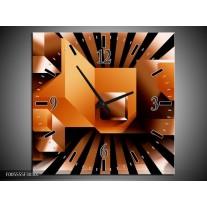 Wandklok op Canvas Art   Kleur: Oranje, Zwart, Wit   F005555C