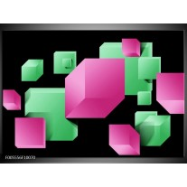 Foto canvas schilderij Art | Groen, Zwart, Roze
