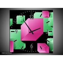 Wandklok op Canvas Art | Kleur: Groen, Zwart, Roze | F005556C