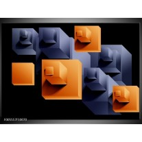 Foto canvas schilderij Art | Oranje, Zwart, Grijs