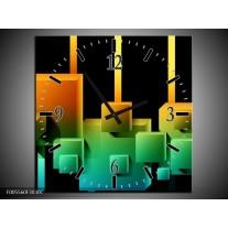 Wandklok op Canvas Art | Kleur: Zwart, Groen, Oranje | F005560C