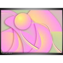Foto canvas schilderij Art | Roze, Groen, Geel