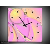 Wandklok op Canvas Art | Kleur: Roze, Groen, Geel | F005568C