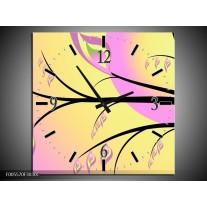 Wandklok op Canvas Boom | Kleur: Paars, Groen, Zwart | F005570C
