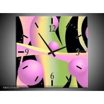 Wandklok op Canvas Art | Kleur: Zwart, Groen, Paars | F005572C