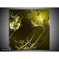 Wandklok op Canvas Tulp | Kleur: Groen, Geel | F005584C