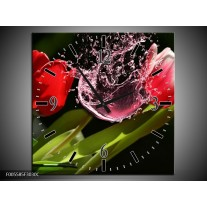 Wandklok op Canvas Tulp | Kleur: Rood, Zwart, Groen | F005585C