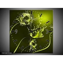 Wandklok op Canvas Tulp | Kleur: Groen, Wit | F005586C