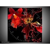Wandklok op Canvas Art | Kleur: Rood, Zwart | F005587C
