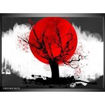 Foto canvas schilderij Bomen   Rood, Wit, Zwart