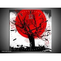 Wandklok op Canvas Bomen   Kleur: Rood, Wit, Zwart   F005590C