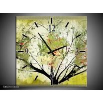 Wandklok op Canvas Bomen | Kleur: Groen, Zwart | F005592C