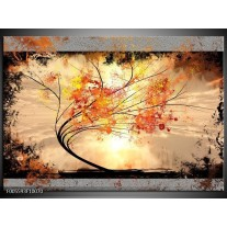 Foto canvas schilderij Bomen   Oranje, Grijs, Zwart
