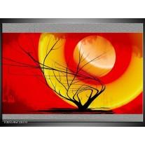 Foto canvas schilderij Boom | Rood, Geel, Grijs
