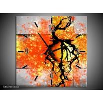 Wandklok op Canvas Boom   Kleur: Oranje, Grijs, Zwart   F005598C