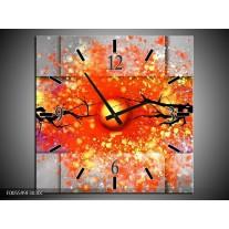Wandklok op Canvas Boom   Kleur: Grijs, Rood, Oranje   F005599C