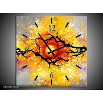 Wandklok op Canvas Boom   Kleur: Grijs, Paars, Oranje   F005600C