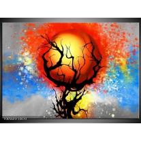 Foto canvas schilderij Boom | Blauw, Zwart, Rood