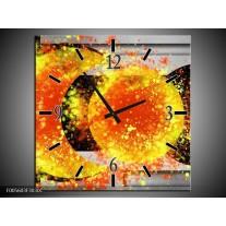 Wandklok op Canvas Art | Kleur: Geel, Grijs, Zwart | F005603C