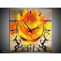 Wandklok op Canvas Art | Kleur: Grijs, Oranje, Geel | F005604C