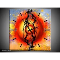 Wandklok op Canvas Art | Kleur: Rood, Zwart, Paars | F005605C