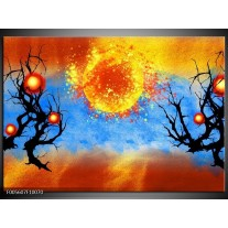 Foto canvas schilderij Art | Blauw, Oranje, Zwart