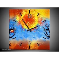 Wandklok op Canvas Art | Kleur: Blauw, Oranje, Zwart | F005607C
