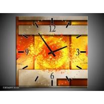 Wandklok op Canvas Art | Kleur: Geel, Grijs, Rood | F005609C