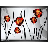 Foto canvas schilderij Tulp | Grijs, Oranje, Zwart