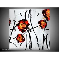 Wandklok op Canvas Tulp | Kleur: Grijs, Oranje, Zwart | F005611C