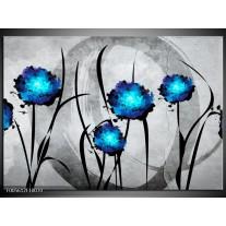 Foto canvas schilderij Tulp | Grijs, Blauw, Zwart