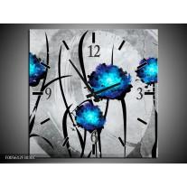 Wandklok op Canvas Tulp | Kleur: Grijs, Blauw, Zwart | F005612C