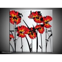 Wandklok op Canvas Tulp | Kleur: Oranje, Zwart, Grijs | F005613C