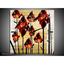 Wandklok op Canvas Tulp | Kleur: Oranje, Zwart, Bruin | F005614C