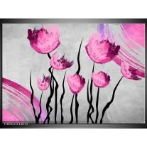 Foto canvas schilderij Tulp | Grijs, Roze, Zwart