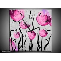 Wandklok op Canvas Tulp | Kleur: Grijs, Roze, Zwart | F005615C