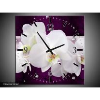 Wandklok op Canvas Orchidee | Kleur: Zwart, Wit, Paars | F005616C